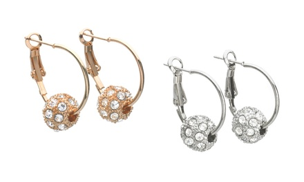 Hoop Earrings with Crystal Pavé Ball with Swarovski Elements