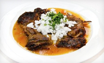 Mexican Goat Dishes and Drinks for Dine-In or Takeout at Birrieria Zaragoza (Half Off). Four Options Available.