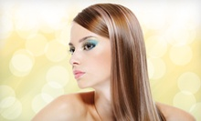 Haircut with Partial Highlights and Glaze or Global Keratin Hair Treatment at Salon Malizia (Up to 55% Off)