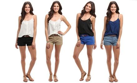 Women's Linen Shorts with Belt
