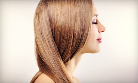 1 or 2 Advanced Brazilian Blowout Keratin Treatments with Designer Haircuts at The Mida's Touch Salon (Up to 69% Off)