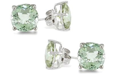 1 or 2 Pairs of 2.00 CTTW Genuine Green Amethyst Gemstone Stud Earrings in Sterling Silver from $7.99–$9.99