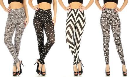 4-Pack of Women's Black-and-White Geometric-Print Leggings