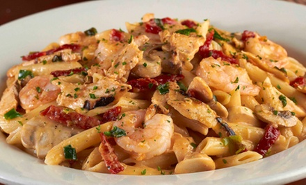 Pasta dish with shrimp at Johnny Carino's. Parkers deal of the day