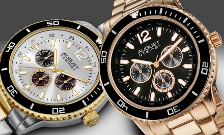 August Steiner Men's Multifunction Watches in Black, Rose-Gold Tone, Silver Tone, or Two Tone. Free Returns.