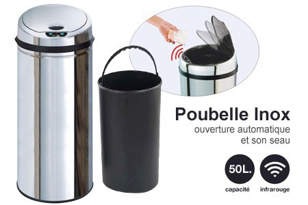 poubelles automatiques color es ou inox capacit 42 ou 50l groupon shopping. Black Bedroom Furniture Sets. Home Design Ideas