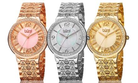 Bürgi Women's Mother-of-Pearl Crystal Bracelet Watch