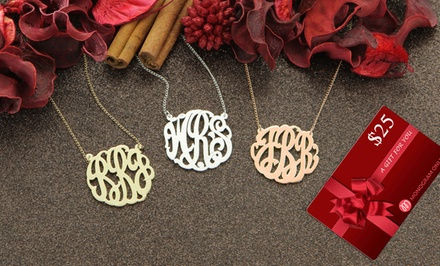 Personalized Monogram Necklace and Free $25 Gift Card from Monogram Online. Multiple Styles for $39.99