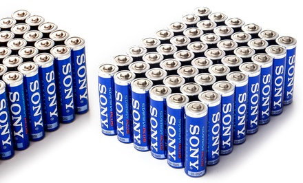 72-Pack of Sony Stamina Plus Alkaline AA or AAA Batteries. Free Returns.