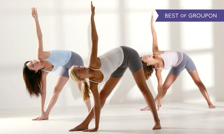 10-Class Pass or Month of Unlimited Yoga at Moksha Yoga (76% Off)