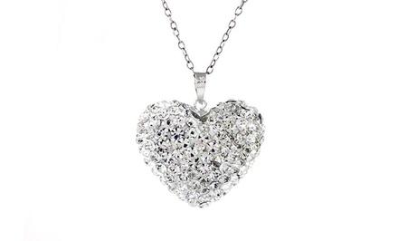 Swarovski Elements Bubble Heart Pendant in Sterling Silver