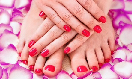 One Spa Mani-Pedi or Shellac Manicure with Optional Paraffin Treatment at S Spa Nails (Up to 55% Off)