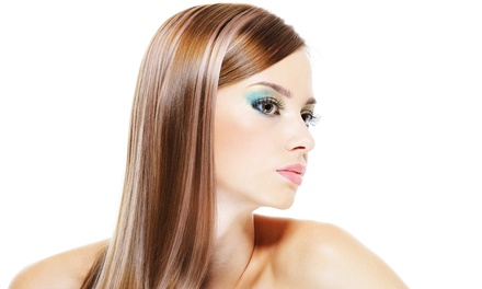 Haircut Package with Style and Color or Partial Highlights, Brazilian Blowout, or Both at Clips Salon (Up to 62% Off)