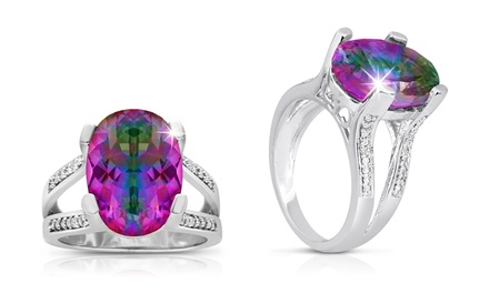5.5 CTTW Oval Mystic Topaz and Diamond Ring in Sterling Silver