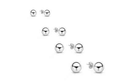 14K Solid White Gold Ball Stud Earrings from $19.99–$26.99