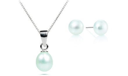 Conjunto de colar e brincos de pérola de água doce branca por 6,99€