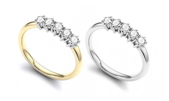 9ct White or Yellow Gold Diamond Ring