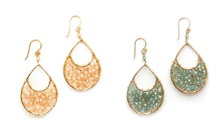 2 Pairs of Handmade Semi-Precious Stone Teardrop Earrings