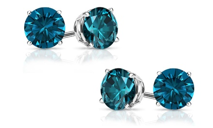 One or Two Pairs of 2.00 CTTW Genuine London Blue Topaz Studs