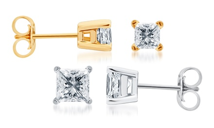 0.25 or 0.50 CTTW Princess-Cut Diamond Stud Earrings in 14K Gold from $159.99–$399.99