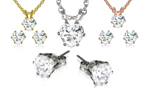3-ctw Heart-shaped Cubic Zirconia Necklace And Earrings Set