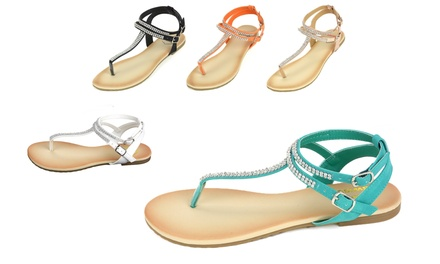 Alpine Swiss Women's Rhinestone Slingback T-Strap Thong Sandals
