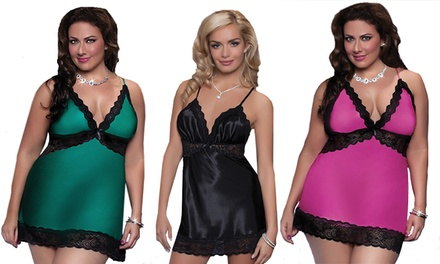 Seven 'til Midnight Enchanting Chemise and Thong Set in Regular and Plus-Sizes