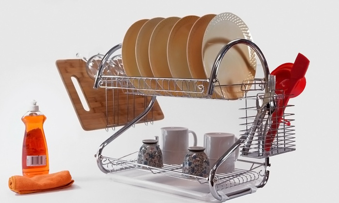 22 or 26 in 2 tier chrome dish rack groupon. Black Bedroom Furniture Sets. Home Design Ideas