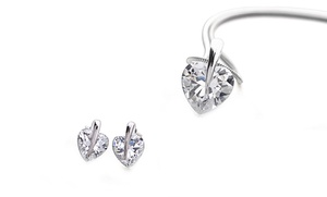 Heart Pendant And Earring Set With Swarovski Elements