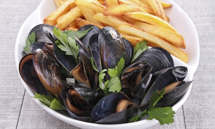 $18 for Mussels and Fries with Martinis or Wine for Two at Majestic Restaurant (Up to a $36 Value)