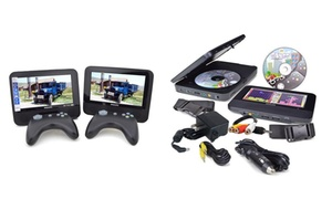 """Philips 7"""" Dual Screen Portable Dvd Player With Games (refurbished)"""