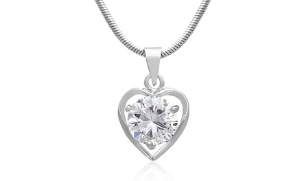 2 CTW Swarovski Elements Heart Necklace in Silver Plated Brass