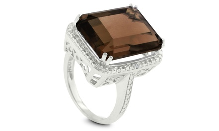 11.00 CTW Smoky Quartz Cocktail Ring with Diamond Accents in Sterling Silver