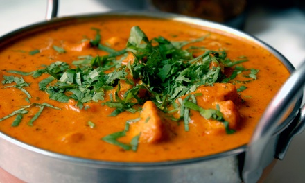 $29.99 for Indian Dinner for Two Including One Appetizer, Two Entrees and Two Desserts at Cafe Taj (49% Off)