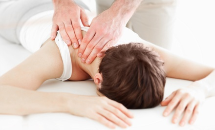 Chiropractic Exam, Adjustment, and X-rays with a 60- or 30-Minute Massage at HealthSource (Up to 89% Off)