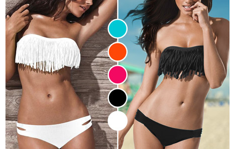 bandeau bikinis mit fransen groupon goods. Black Bedroom Furniture Sets. Home Design Ideas