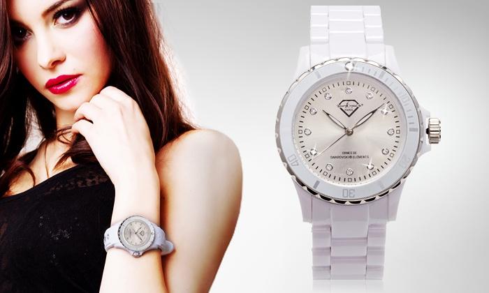 * Prendas de Natal * Relógio em estilo cerâmica com Swarovski Elements preto ou branco por 16,99€
