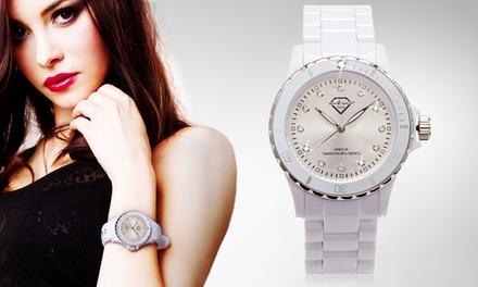 Relógio em estilo cerâmica com Swarovski Elements preto ou branco desde 16,99€