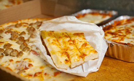 Pizza, Wings, and Pasta at Chris&#x27;s 2 for 1 Pizza (Half Off). Three Options Available. 