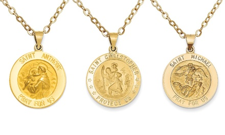 Italian 14K Solid Gold Saint Medallion Charm Pendant Necklace