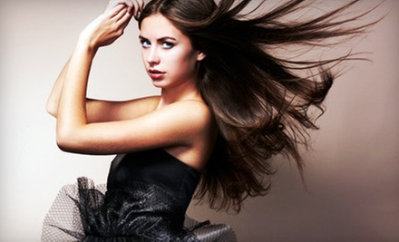 Haircut with Color or Partial or Full Highlights, or a Keratin Treatment at AMP Salon with Magan Lucas (Up to 66% Off)