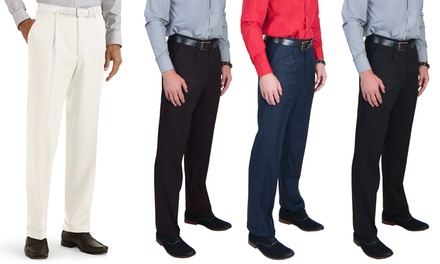 Men's Pleated Dress Pants with Belt