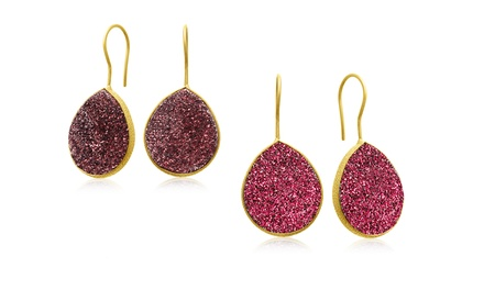 30.00 CTW Druzy Quartz Earrings