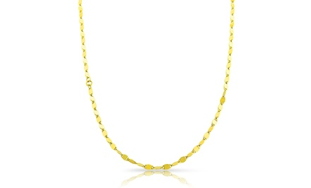 14K Solid Gold Mirror Link Chain Necklaces; Multiple Lengths from $79.99–$119.99