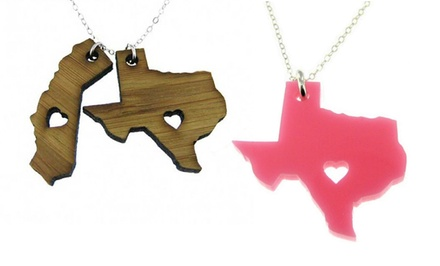 Acrylic or Bamboo State Love Necklaces from JC Jewelry Design
