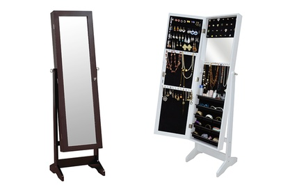Freestanding Mirror and Jewelry Cabinet