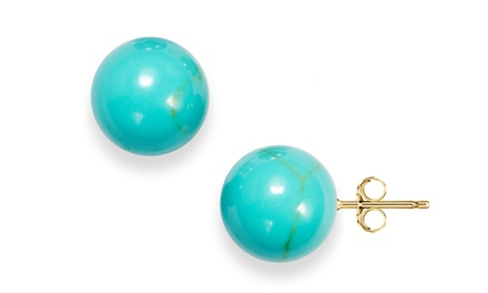 14K Gold Genuine Turquoise Ball Stud Earrings from $9.99–$15.99