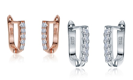 Rose Gold and Platinum Plating Over Sterling Silver Lab Created Diamond Huggies