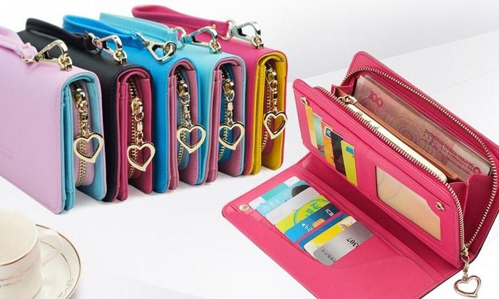 Carteira para smartphone em pele sintética disponível em várias cores por 16,99€ ou duas por 29,99€