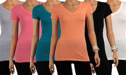 6-Pack of Basic Women's Short-Sleeve V-neck T-shirts